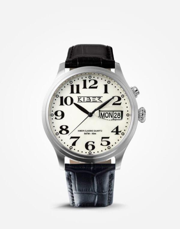 Kiber zilver horloge grote cijfers voor slechtziende. De Kiber Iluma RVS