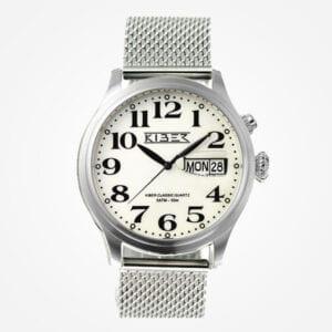 Kiber Iluma mesh is een zilver horloge met grote cijfers voor slechtziende