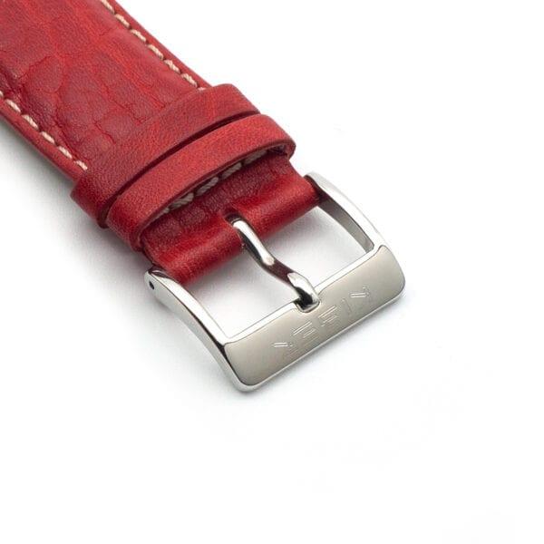 Horlogeband leder red toro 24mm detail