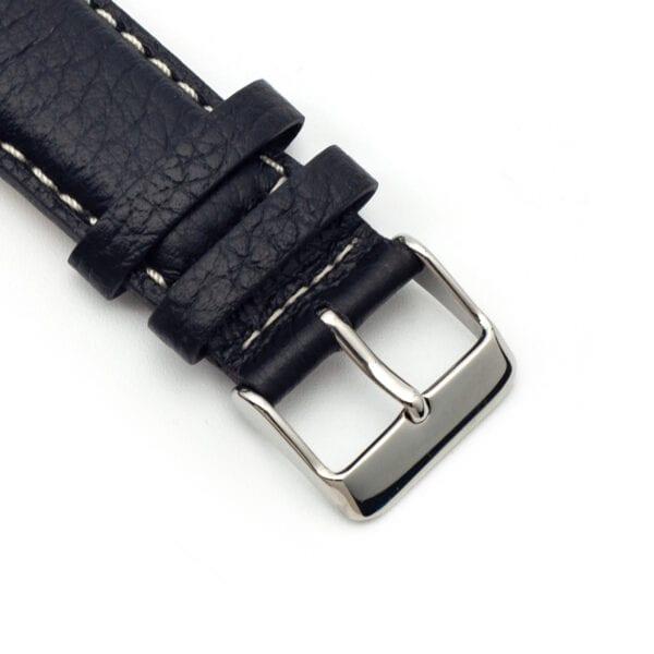 Horlogeband leder zwart arrow 22mm detail
