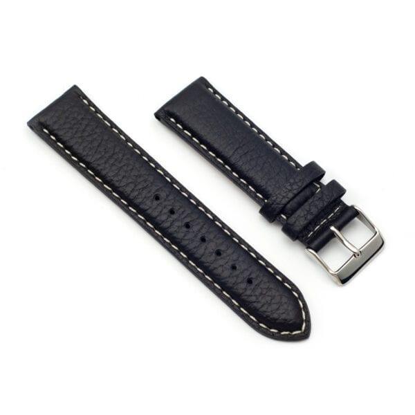 Horlogeband leder zwart arrow 22mm side