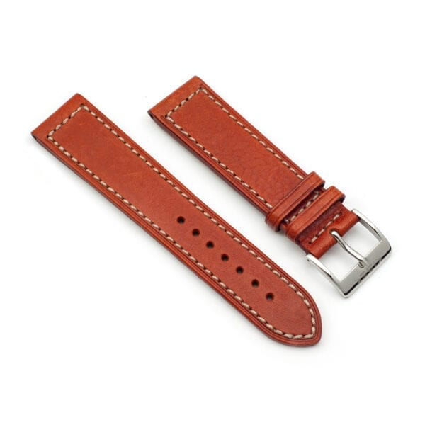 Horlogeband leder cognac 22mm side