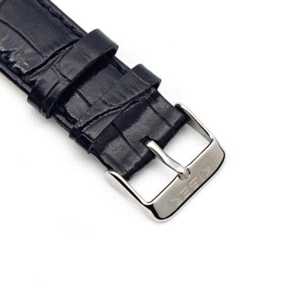 Horlogeband leder zwart Iluma 22mm detail