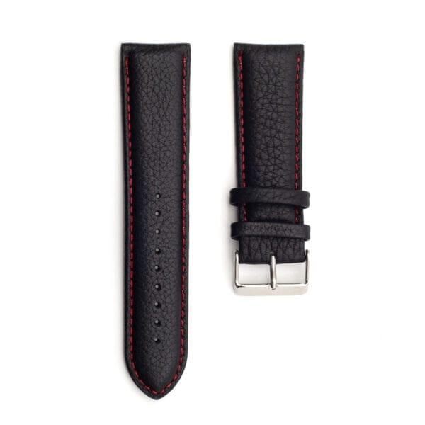 Horlogeband leder zwart nero rosso 24mm