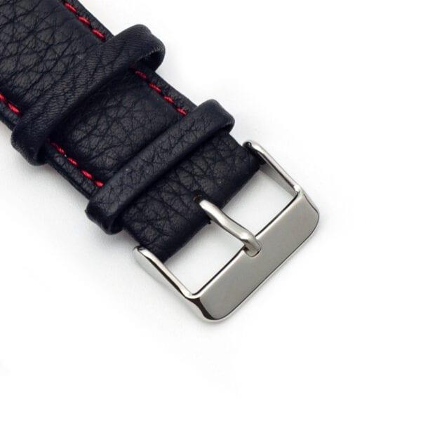 Horlogeband leder zwart nero rosso 24mm detail