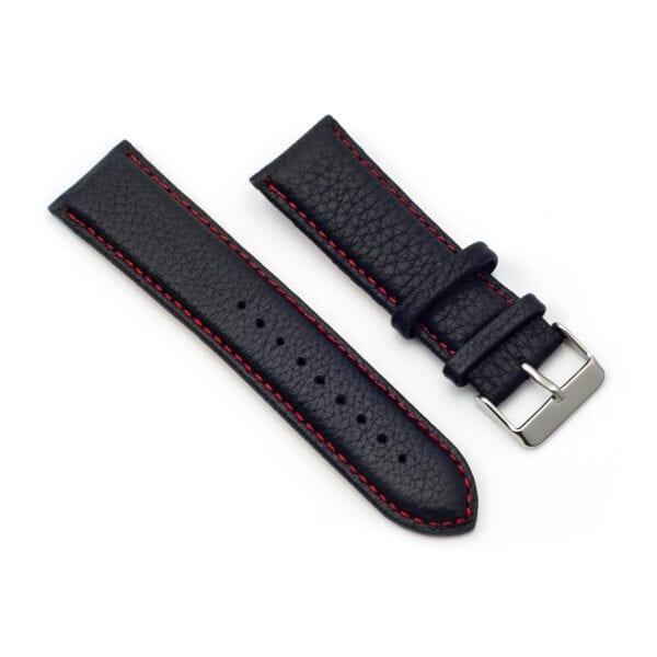 Horlogeband leder zwart nero rosso 24mm side
