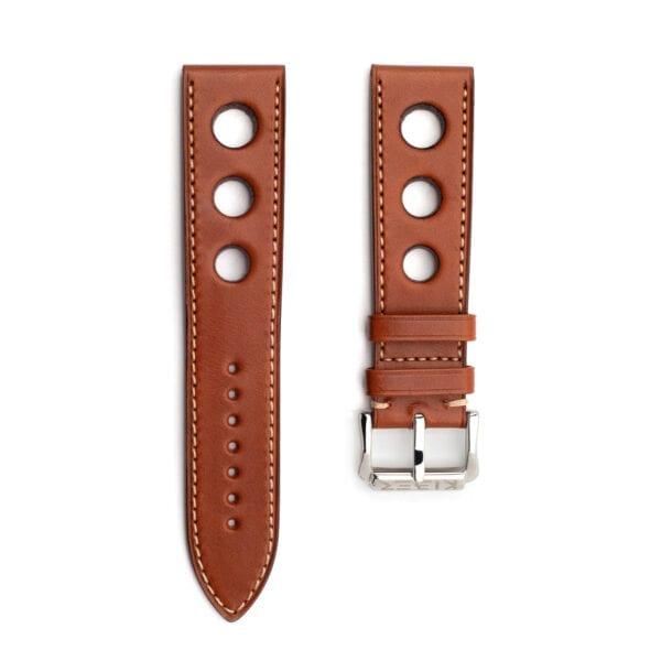 Horlogeband leder bruin Racing 24mm xl