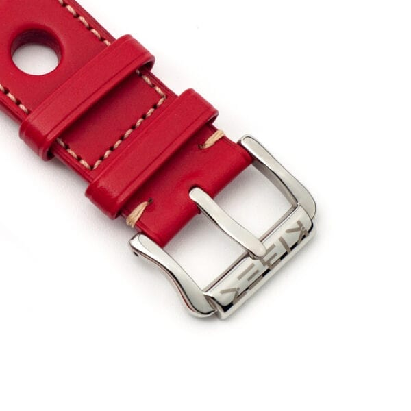 Horlogeband leder rood Racing 24mm detail