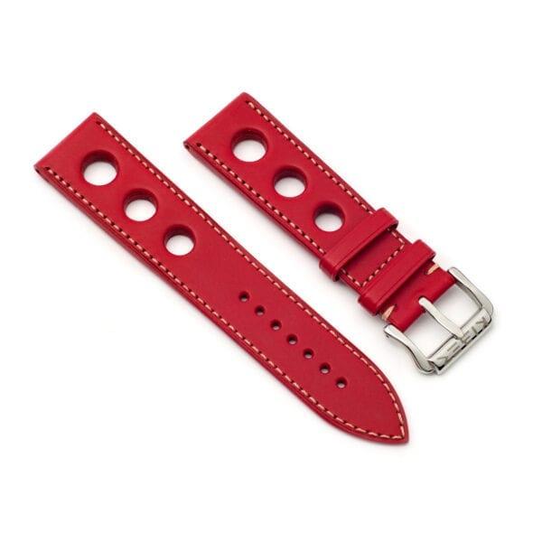 Horlogeband leder rood Racing 24mm side