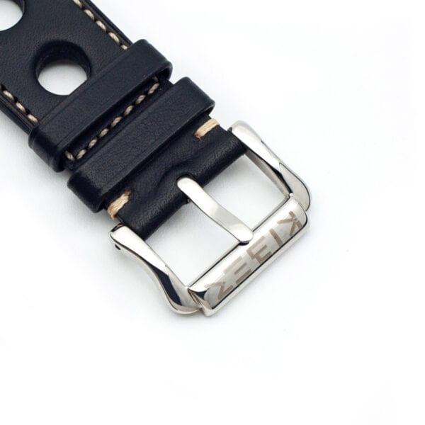 Horlogeband leder zwart Racing 24mm detail