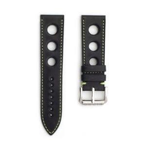 Horlogeband leder zwart/groen Racing 24mm