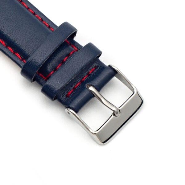 Horlogeband leder blauw Silverstone 22mm detail