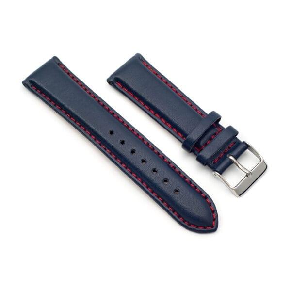 Horlogeband leder blauw Silverstone 22mm side