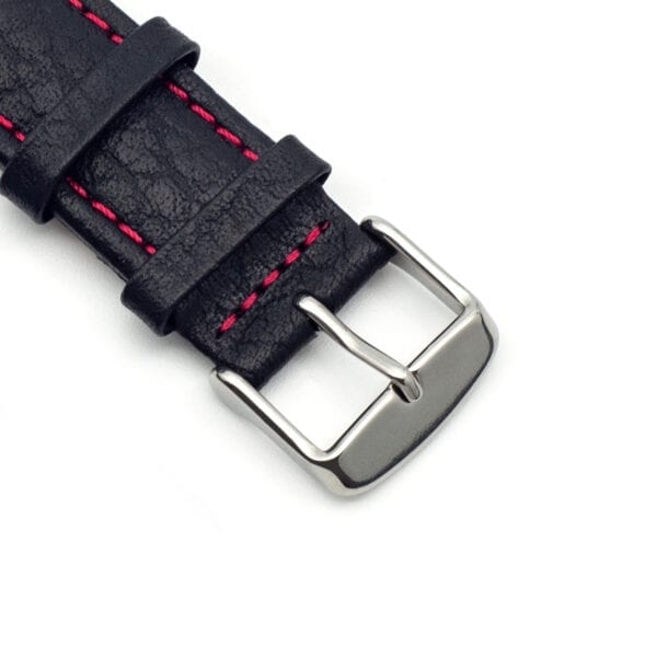Horlogeband leder zwart Specchio 22mm detail