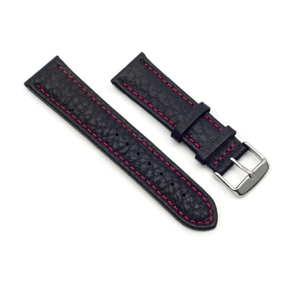 Horlogeband leder zwart Specchio 22mm side