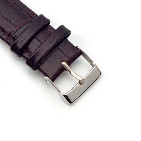 Horlogeband Croc leder bruin 20mm detail