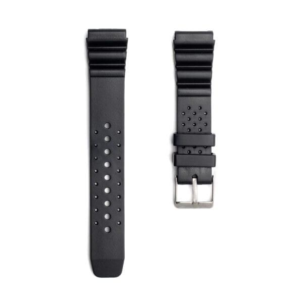 Horlogeband rubber zwart diver 22mm